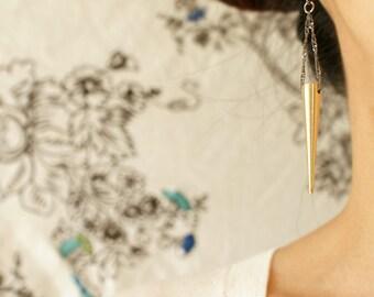 Spike dangle earrings, gold spike dangle, statement dangle earrings, long spike steampunk jewelry