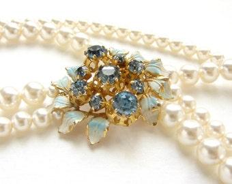 Vintage bridal necklace, Tiffany Blue flower wedding jewelry, vintage enamel flower brooch, bridal pearl OOAK Bridal jewelry