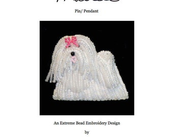 PDF file: MALTESE Dog Pin Beading Pattern Beaded Animal Bead Embroidery Tutorial  (For Personal Use Only) Free Ship