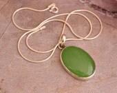 Chalcedony pendant necklace - Apple green pendant - Bezel pendant - Oval pendant - Gift for her