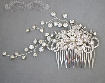 Wedding Hair Accessories,Large Bridal Hair Combs. Pearl Rhinestone Crystal Vintage Style Wedding Hair Pieces Fascinator Hair Vine