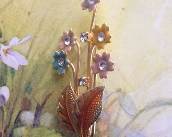 Delicate floral bouguet enamel flower spray brooch