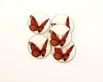 "5 Butterfly Buttons. Black Orange and Red  Butterfly Handmade Buttons for sewing. 3/4"" or 20 mm."