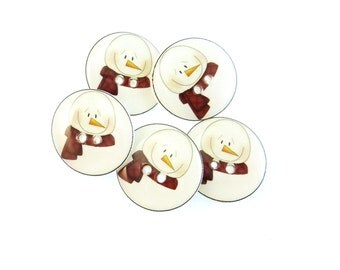 "5 Snowman  Buttons. Handmade Buttons. 3/4"" or 20 mm. Christmas Sewing Buttons."