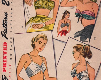 Simplicity 2026 1940s Simple to Make Misses Set of Bra Tops Pattern Womens Vintage Sewing Pattern Size Small Bust 30 32 OR Medium 34 36