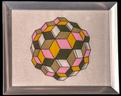 Hand Painted Geometric Framed Piece- Orange, Pink, Olive