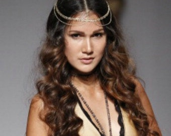 CHAIN HEADPIECE- chain headdress - head chain - headchain - hair chain
