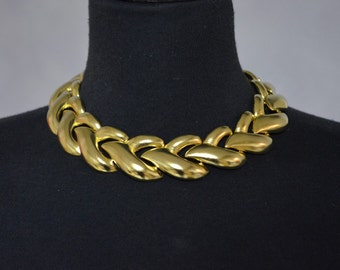 Mimi Di N NOS Statement Necklace Choker. Gold Tone Chunky Necklace Braid. 1994.