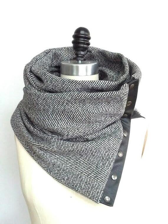 Reserved for Robin  Herringbone wool circular infinity scarf
