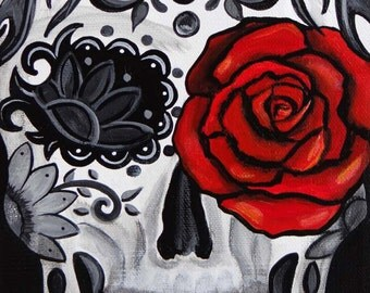 Red Rose, Day of the Dead Art by Melody Smith