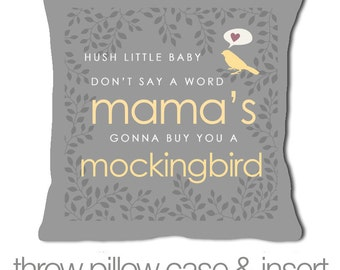 hush little baby mama's gonna buy you a mockingbird throw pillow lullaby