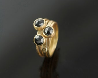 Black Rose Cut Diamond Engagement Ring Stacking set in Recycled 14k Yellow Gold
