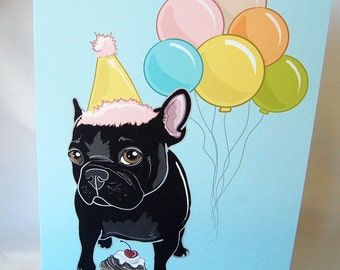 Frenchie 'n Balloons Greeting Card