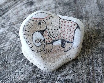 Beach Pottery Elephant with a Blanket