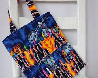 Motorcycles and Flames Crayon Bag Coloring Book Bag Crayon Tote Gift for Boy Crayon Holder