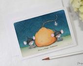 "greeting card - card - pumpkin - mice - halloween - thanksgiving - autumn - fall  - ""A Touching Tale!"""