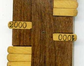 Vintage WOOD SCORER for Parlour GAMES- Collector piece- front strips light wood on darker background wood- no dammage, no repairs, genuine
