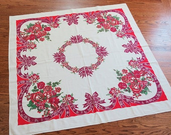 Vintage Floral Tablecloth with Bows, Ribbons and Flowers in Red, Maroon and Green
