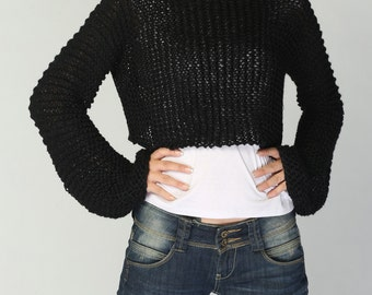 Hand knit sweater - Eco cotton little cover up top in Black