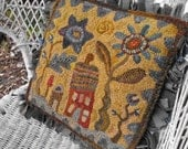 Hideaway House Pattern PDF for rug hooking and punchneedle embroidery