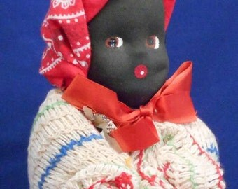 "Vintage doll. Black Americana ""dish cloth"" doll.  *Free shipping"