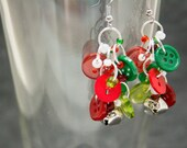 Button Dangle Earrings / Silver Bells Christmas Jewelry / Fun Red and Green Earrings by randomcreative on Etsy