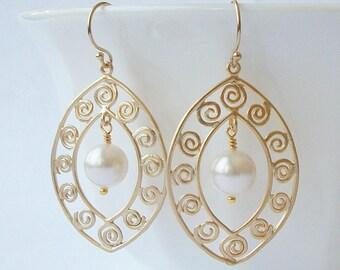 White Pearl Dangle Earrings Wedding Jewelry