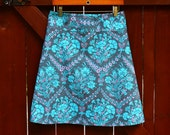 Woman's A Line Skirt, Amy Butler, Cameo, Josephines Boutique in Slate, Simple A-line Skirt,  Women's Hip Sizes 30-56 inches