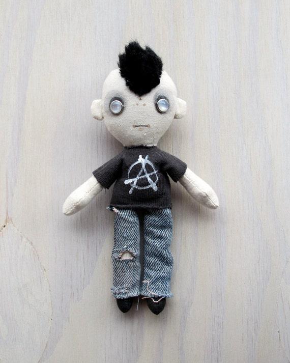 Pocket Dolly - Punk Boy with Anarchy Tee