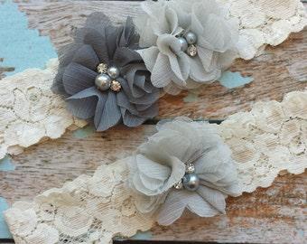 CHARCOAL / GREY  chiffon flower / wedding garter set / bridal  garter/  lace garter / toss garter included /  wedding garter