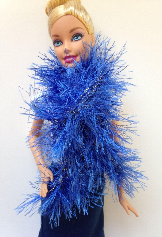 handmade clothes yarn boa scarf blue silver ss1902