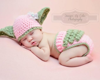 Yoda Hat & Diaper Cover SET Star Wars Hat Newborn 0 3m 6m Girls Crochet Baby Clothes POPULAR Worldwide Perfect Gift Daddies Love This