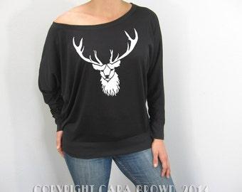 Stag T Shirt Women's Slouchy wiccan Deer Black Long Sleeve buck antlers