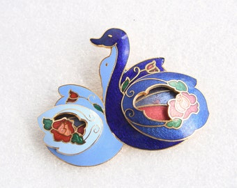 Cloisonne Swan Brooch Vintage Swans Lovers Pair Blue Enamel Figural Romantic Colorful Cloisonné Pin