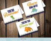 DINOSAUR card bundle - Thank you cards   Lunchbox Notes   Cute Dinosaur Birthday Party   Printable DIY Digital File Trex Stripes