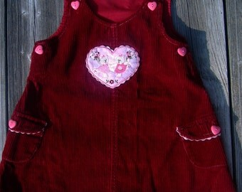 Vintage Toddler Embroidered Burgundy Corduroy Jumper Heart Dress Shabby Victorian Chic 3T