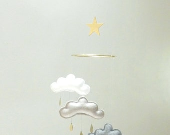 "Star Nursery cloud mobile "" MIDNIGHT"" by The Butter Flying-grey,white,gold nursery"
