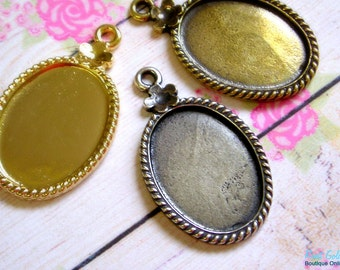 Oval Silver pendant setting for 18 x 25 mm cabochon, blank base, bezel pendant setting, Sterling Silver plated, rustic oxidized, roped frame