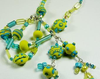 BirdDesigns Sterling Silver Lampwork Necklace - ooak - J565