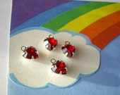 4 Red Heart Charms Vintage Swarovski Rhinestone Drop SP SilverPlated Siam