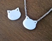 SALE - Modern white kitty cat necklace - silver chain - READY to SHIP