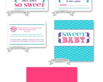 Printable Party Pack - Pink Purple Teal Baby Shower - DIY INSTANT digital download - girl baby shower