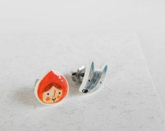 red riding hood earrings, fairy tale earrings