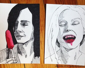 Only Lovers Left Alive Ink Drawings - Set of 2
