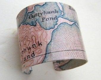 Vintage Cuttyhunk Cape Cod Massachusetts cuff bracelet -2 inch - gift boxed