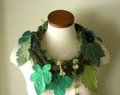 Leaf Scarf- Tweedy Hunter Green with Emerald, Teal, Apple Green, Spring Green Embroidered Leaves- Fiber Art Scarf
