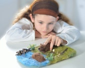 Felted Wool Playmat with Forest Beavers - Eco Friendly Play Mat Set - Waldorf-Inspired Nature Animal Playscape