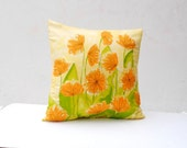 "Silk Pillow Sham Cover- Handmade with Vintage Vera Silk- 21"" Square -  Spring Home Decor (Ready to Ship)"