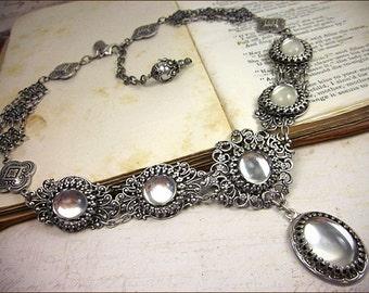 Renaissance Necklace, Clear Stones, Victorian Bridal Jewelry, Medieval Wedding, Bridesmaid, Garb, Renaissance Festival, Choose Color