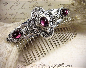 Wedding Comb, Purple, Medieval, Renaissance, Bridal Comb, Tudor, Bridal Hair Comb, Ren Faire, Medieval Wedding, Garb, Avebury